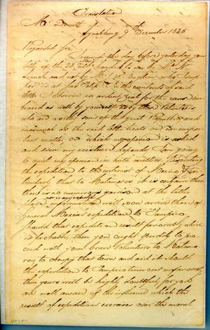 Primary view of object titled '[Letter from Zavala to Dimitt] December 9th 1835'.