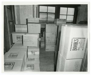 Primary view of object titled '[Boxes of Books in the Book Depository]'.