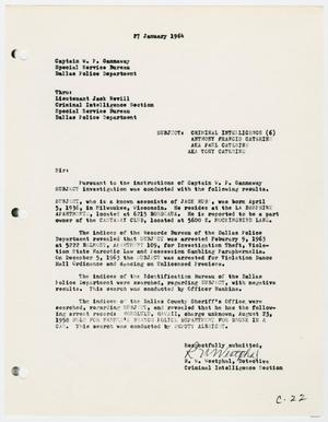 Primary view of object titled '[Report to W. P. Gannaway by R. W. Westphal, January 27, 1964 #2]'.