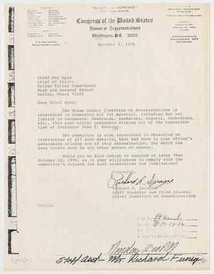 Primary view of object titled '[Letter from Richard A. Sprague to Chief of Police Don Byrd, October 7, 1976]'.