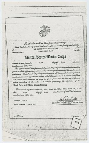 Primary view of object titled '[Appointment of Lee Harvey Oswald to United States Marine Corps]'.