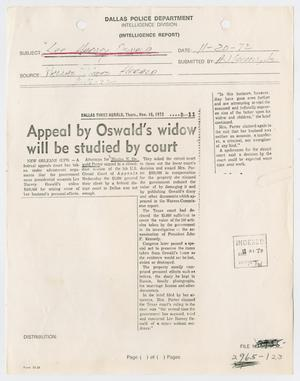 [Newspaper Clipping: Appeal by Oswald's widow will be studied by court]