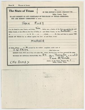 Primary view of object titled '[Warrant of Arrest for Jack Ruby by Pierce McBride, November 24, 1963 #3]'.