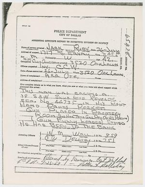 Primary view of object titled '[Arresting Officers' Report of Prior Arrest of Jack Ruby]'.