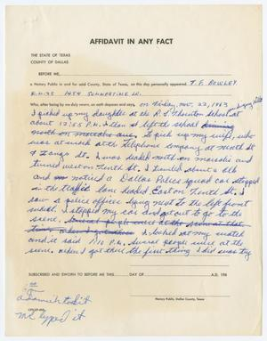 Primary view of object titled '[Affidavit by T. F. Bowley #1]'.