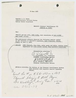 Primary view of object titled '[Criminal Intelligence Report on Michael R. Payne]'.