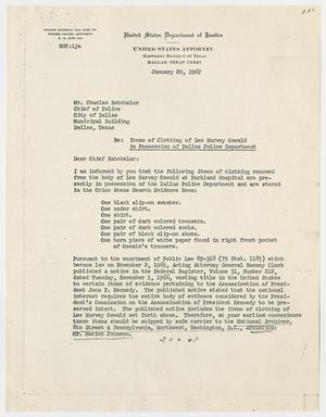 Primary view of object titled '[Letter from Melvin M. Diggs to Charles Batchelor, January 20, 1967 #1]'.