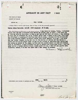 Primary view of object titled '[Affidavit by Mary Rattan #2]'.