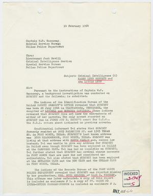 Primary view of object titled '[Report to W. P. Gannaway by H. M. Hart, February 14, 1964 #1]'.