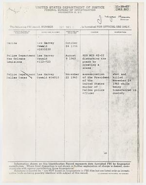 Primary view of object titled '[Information report on Lee Harvey Oswald]'.