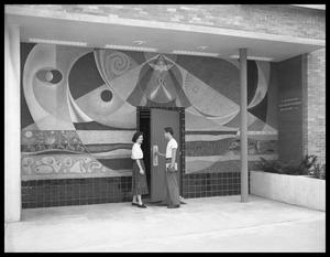 Primary view of object titled '[Students in Front of a Mural]'.