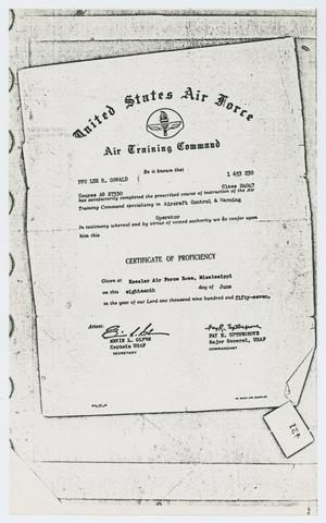 [Document of Completion by Lee Harvey Oswald of Air Training Command Course]