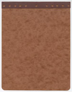 Primary view of object titled '[Cover to Bound Notebook]'.