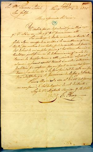 Primary view of object titled '[Letter from Political Chief to Lorenzo Zavala] October 6th 1835'.