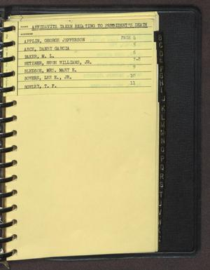 "Primary view of object titled '[Index page filed under ""A"" from an inventory notebook #7]'."