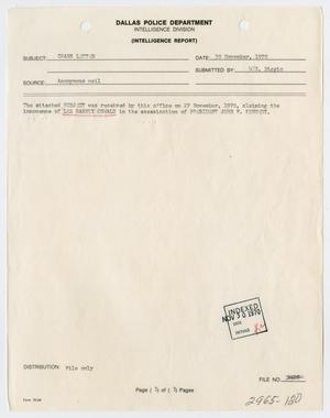 Primary view of object titled '[Intelligence Report and Letter on Newspaper Clipping]'.