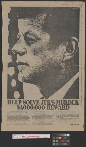 Primary view of object titled '[Newspaper Clipping: Help Solve JFK's Murder: $1,000,000 Reword]'.