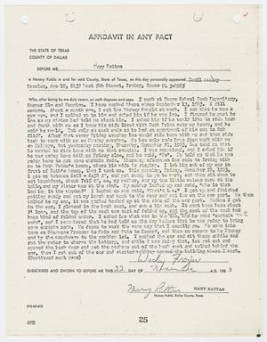 Primary view of object titled '[Affidavit by Buell Wesley Frazier #2]'.