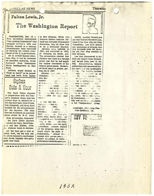 Primary view of object titled '[Newspaper Clipping, by Fulton Lewis, Jr., concerning Lee Harvey Oswald's connection to the Communist Party #1]'.