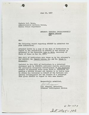 [Criminal Intelligence Report by D. K. Rodgers to Captain W. F. Dyson]