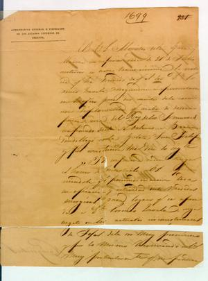 Primary view of object titled '[Letter from Martin Perfecto de Cos to Political Chief of Nacogdoches] August 8th, 1835'.