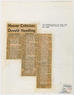 [Clipping: Hoover Criticizes Oswald Handling]