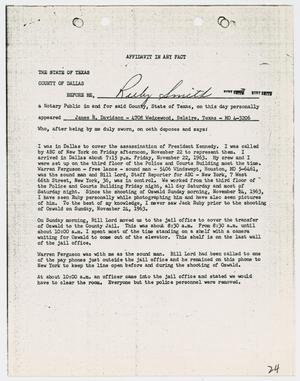 Primary view of object titled '[Affidavit in Any Fact by J. R. Davidson]'.