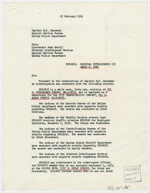 Primary view of object titled '[Report to W. P. Gannaway by R. W. Westphal, February 25, 1964]'.