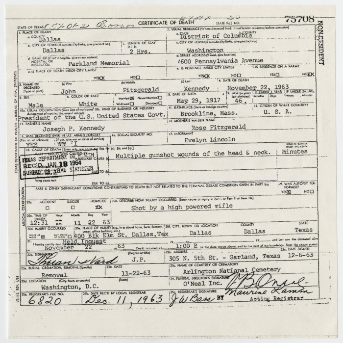 Death Certificate of John F. Kennedy] - The Portal to Texas History