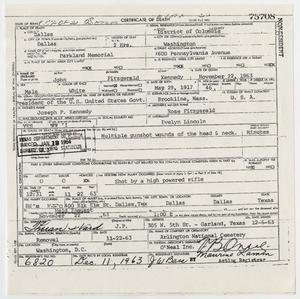 Primary view of object titled '[Death Certificate of John F. Kennedy]'.