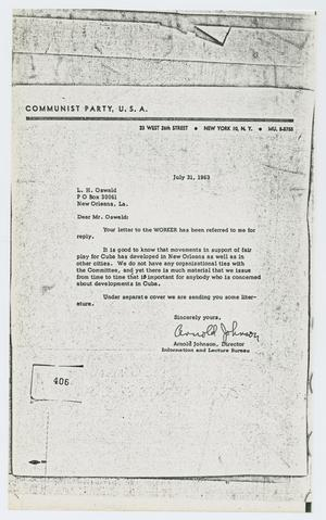 [Letter to Lee Harvey Oswald from Arnold Johnson, July 31, 1963]