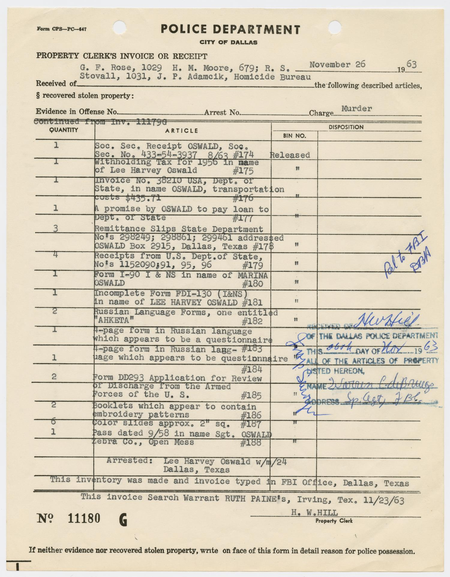 [Property Clerk's Receipt of Lee Harvey Oswald's Property] - Page 7 of 34 - The Portal to Texas ...