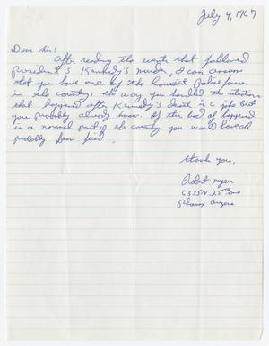 [Letter to Police Department from Robert Myer, July 4, 1967]