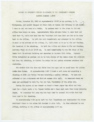 Primary view of object titled '[Report by Marvin Johnson on Officer's Duties #3]'.