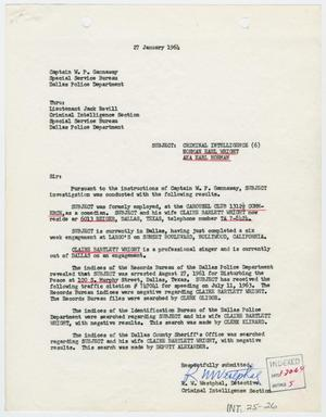 Primary view of object titled '[Report to W. P. Gannaway by R. W. Westphal, January 27, 1964 #1]'.