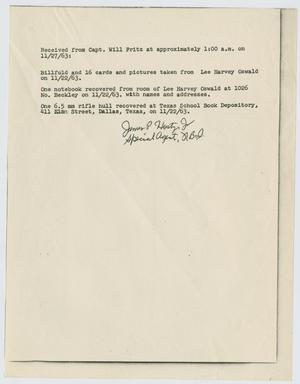 Primary view of object titled '[Acknowledgment of Receipt by James P. Hosty, Jr. #2]'.