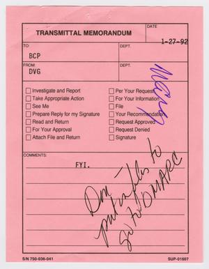 Primary view of object titled '[Transmittal Memorandum, January 1, 1992]'.