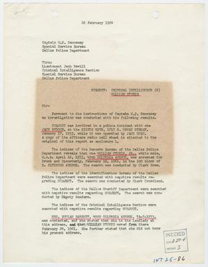 Primary view of object titled '[Report to W. P. Gannaway by R. W. Westphal, February 26, 1964]'.