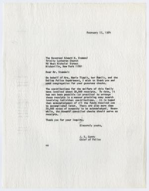 [Correspondence between Chief J. E. Curry and citizens, 1964]
