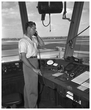 Primary view of object titled 'Airport scenes: control tower, planes'.