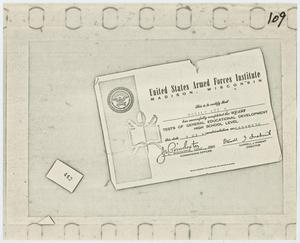 Primary view of object titled '[Certificate from U.S. Armed Forces Institute]'.