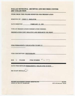Primary view of object titled '[Dallas Municipal Archives form by Cindy C. Smolovik]'.