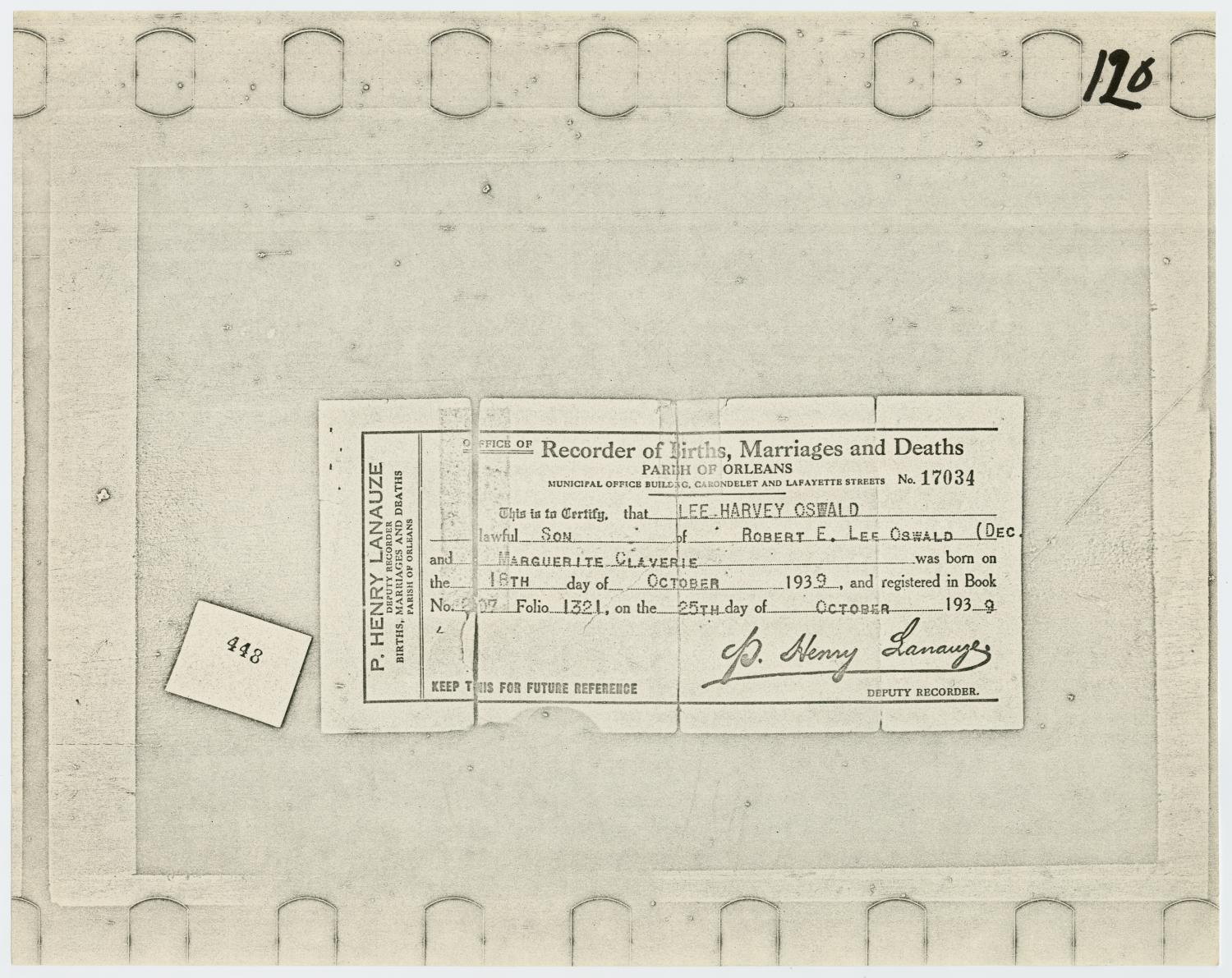 Lee harvey oswalds birth certificate the portal to texas history lee harvey oswalds birth certificate the portal to texas history aiddatafo Choice Image