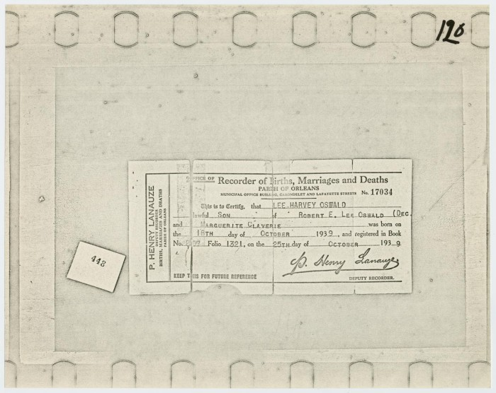 Lee Harvey Oswald\'s Birth Certificate] - The Portal to Texas History