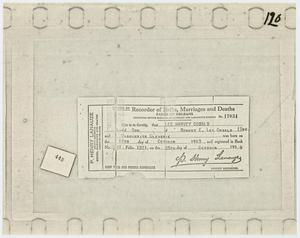 Primary view of object titled '[Lee Harvey Oswald's Birth Certificate]'.