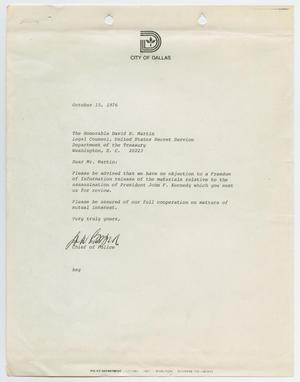Primary view of object titled '[Letter from Chief D. A. Byrd to David H. Martin, August 15, 1976]'.