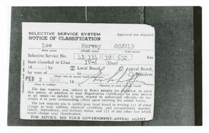 [Back of Selective Service Card]