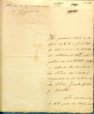Primary view of object titled '[Letter from Alcalde to Political Chief] March 24th, 1835'.