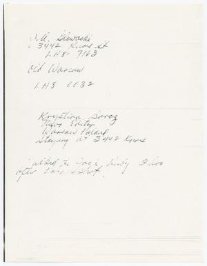 Primary view of object titled '[Handwritten note by an unknown author, concerning Jack Ruby]'.