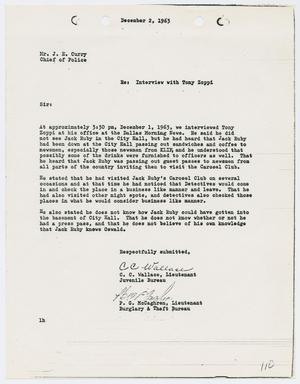 Primary view of object titled '[Report from C. C. Wallace to Chief J. E. Curry, December 2, 1963]'.